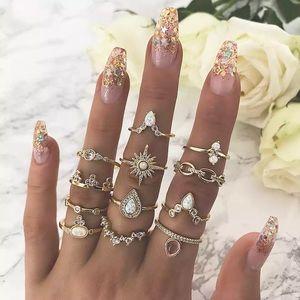 12 Pcs Boho Gypsy Gold, Crystal & Opal Ring Set